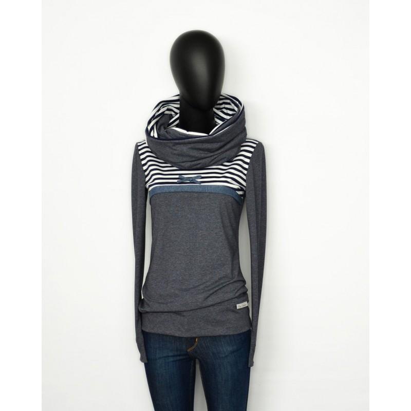 Iza Fabian SET 2 Teile ABAR grau blau hoodie loop blue damen women ladies streifen shirt strips