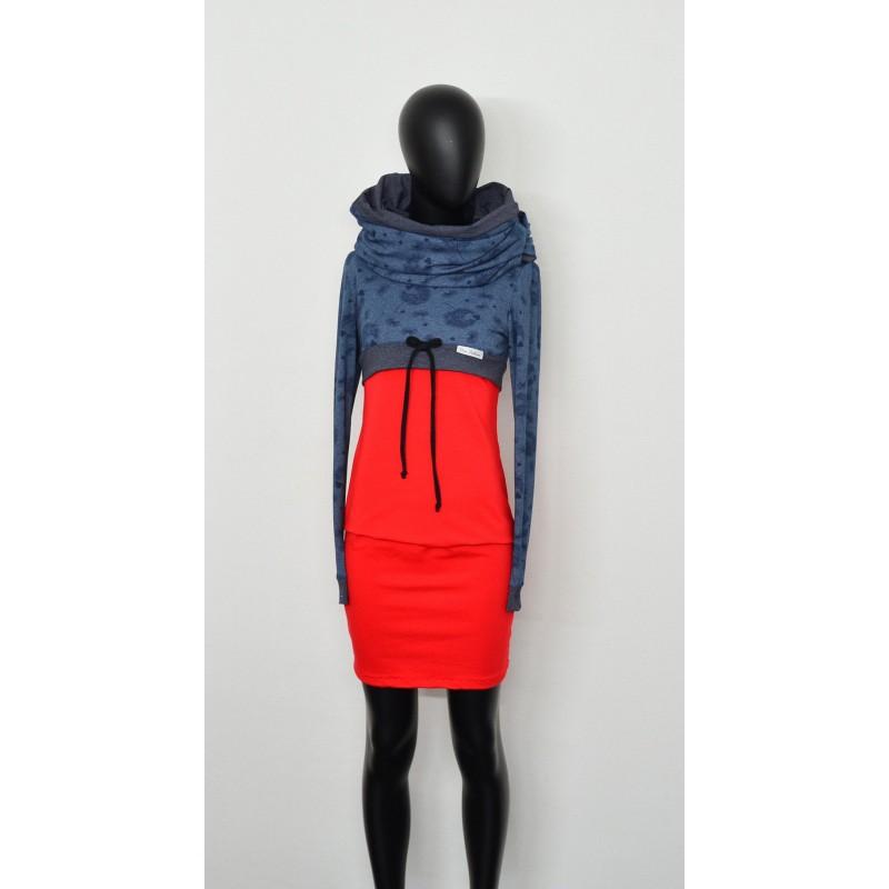 A1 Iza Fabian SET + KLEID + LOOP rot blau blumen damen kleider