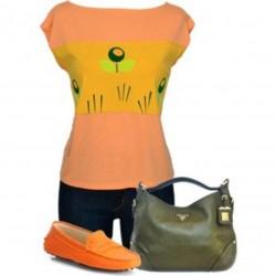Damen Shirt , 2017-20 , orange gelb blumen grün