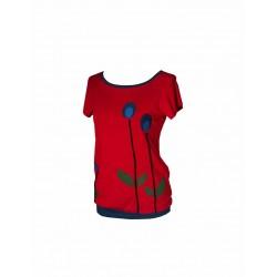 Iza Fabian , Shirt , RETRO RED , rot blumen damen
