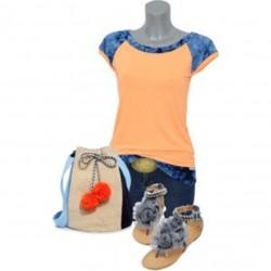 """Shirt """" ORANGE CX 1 """" batik blau damen kurzarm"""