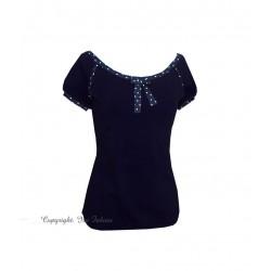 Iza Fabian - Shirt LILLY viskose blau punkte schleife damen kurzarm