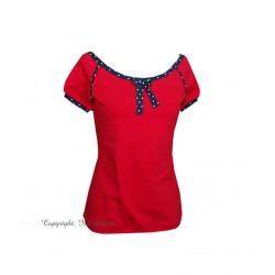 Damen Shirt, LILLY , viskose rot blau punkte schleife damen