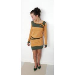 Iza Fabian - Designer Kleid OCK x1 ocker mustard gelb olive grün