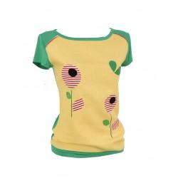 Iza Fabian, Damen Shirt , Retro Blumen, Grün, Gelb, Streifen.