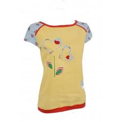 Iza Fabian, Damen Shirt, Gelb, Blau,Rot, Blumen, Streifen, Herzen.