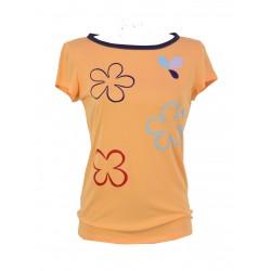 Iza Fabian, Shirt in Madarine, mit Bunten Blumen. Viskose.