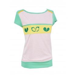 Iza Fabian, Damen Shirt in Rosa und Grün. Retro Muster, Streifen.