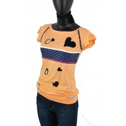 Iza Fabian - T-Shirt in Orange, Mandarine,Punkte, blaue Passe und Herzen Applikationen.Designer Mode.