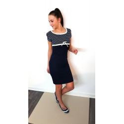 Iza Fabian Kleid - POINT a2 - blau navy punkte schleife damen kleider kurzarm women dress blue marine dots