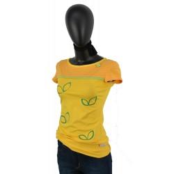Iza Fabian Shirt in Gelb mit streifen und Blumen.