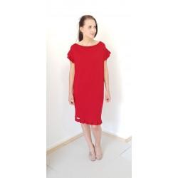 Iza Fabian, Damen Kleid in Rot. Locker, Falten, Viskose Jersey.