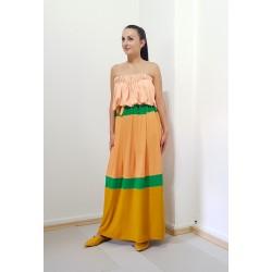 Iza Fabian, Langes Damen Kleid , gestreift, Mandarin, Grün, Gelb.