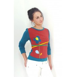 Iza Fabian, Damen Pullover in Petrol und Ziegel Rot, longsleeve, shirt, blume, applikation,jersey,