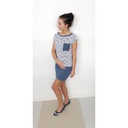 Iza Fabian - Designer Kleid JEANS a2 - blau rot damen kleider herz streifen women strips heart red dress