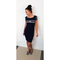 Iza Fabian Kleid - POINT a1 - blau navy punkte spitze schleife damen kleider kurzarm dress women
