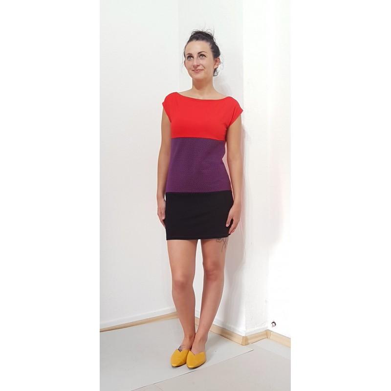 Gestreifte Damen Mini Kleid, Punkte, Rot, Aubergine ...