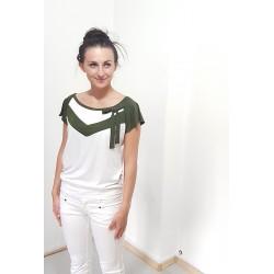 T-Shirt mit V , locker, Tanne und Creme , Schleife, Damen Mode, Designer, Iza Fabian