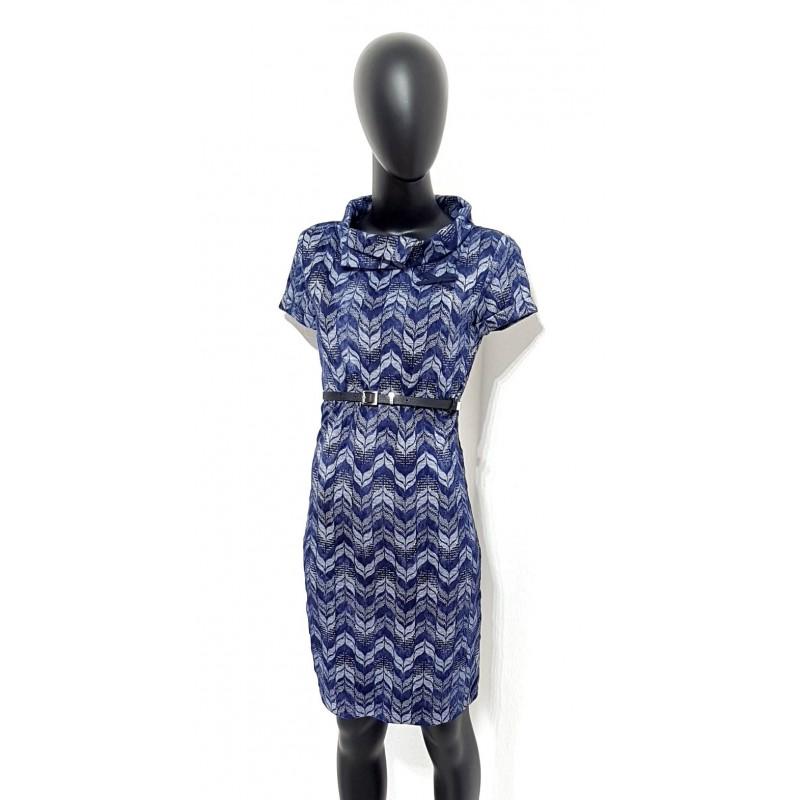 Iza Fabian, Damen Kleid mit Retro Muster in Blau.