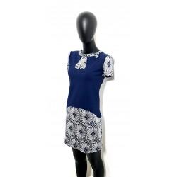 Iza Fabian, Retro ist Top, Kleid in Blau mit Schleife und Blumen Muster. et19