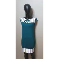 Petrolblaue Kleid mit Streifen Einsatz. uub9.