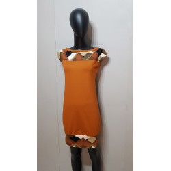 Iza Fabian Kleid in gebrannte Orange Retro Muster