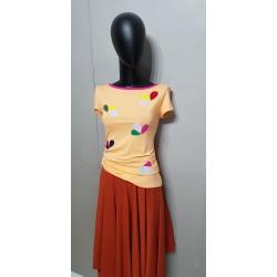 Iza Fabian Shirt Viskose Blumen Retro Mandarin