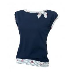 Iza Fabian, Shirt in Marine Blau, gestreifte Bund, Schleife, Herzen Muster. iga55