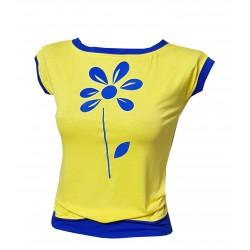 Gelbe Shirt mit Royalblaue...