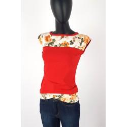 Iza Fabian Rot Shirt Blumen Uni