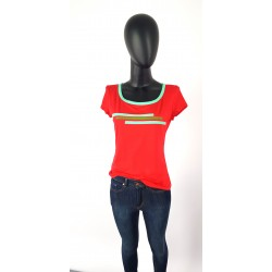 Iza Fabian Shirt Rot Streifen Rundhals