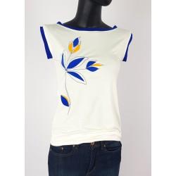 Iza Fabian Shirt gestickte Blumen Weiß