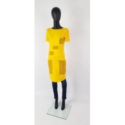 IZA FABIAN Designer Kleid in Gelb und Ocker