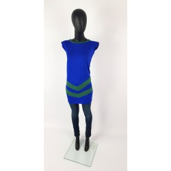 Royalblaue Kleid mit Grünen Streifen. roy5522.