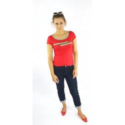 T-Shirt in Rot und Mint , Streifen, Iza Fabian.