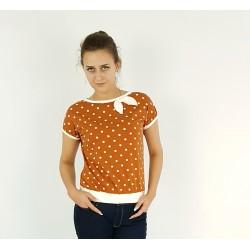T-Shirt in Rost mit Punkten, Schleife, Iza Fabian.