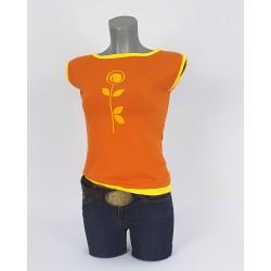 Damen T-Shirt in Gebrannte Orange und Safran Gelb
