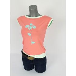 Damen T-Shirt Retro Blume Koral Rot Mint von Iza Fabian