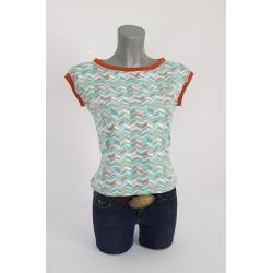 Gemusterte Shirt , Geo , Dunkel Mint, Multicolor. rost0306
