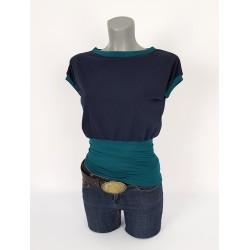 Iza fabian Shirt Viskose locker Blau Schleife