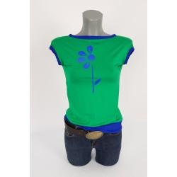 Iza Fabian Shirt Viskose Blume Grün Royal Blau