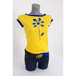 Gelbe Shirt mit Royalblaue Blume Applikation. gel5522.