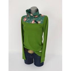 Iza Fabian Rollkragen Pullover Grün Blumen