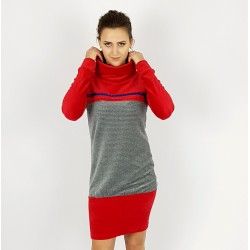 Hoodie Kleid , Rot Grau, Iza Fabian.