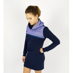 Hoodie Kleid in Blau , Fischgrät Muster, Iza Fabian.