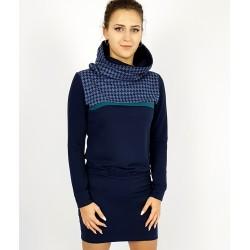 Blaue Kleid mit Hoodie Kragen, Iza Fabian.