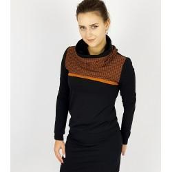 Schwarze Kleid mit Haselnuss Kragen und Passe, Iza Fabian.