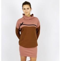 Lockeres Hoodie Kleid in Nuss und Altrosa, Iza Fabian.