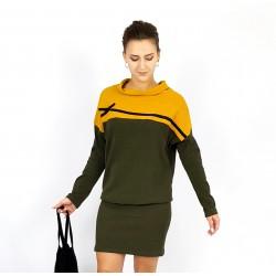 Lockeres Kleid in Ocker und Olive , Iza Fabian.