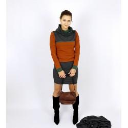 Hoodie Kleid in Rost Grau ,...